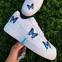 Nike Air Force 1 men's and women's casual butterfly print low-top sneakers Shoes