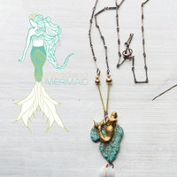 Mermaid Turquoise Gold Howlite Shell Necklace
