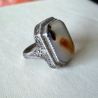 Vintage Art Deco Moss Agate Ring Filigree Sterling Silver Setting Size 6