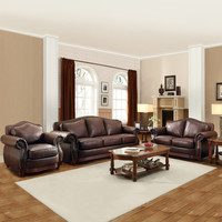 TRIBECCA HOME Myles Traditional Chocolate Bonded Leather Rolled Arm 3-piece Sofa Set   Overstock.com Shopping - The Best Deals on Living Room Sets