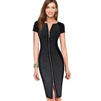 Vfemage Womens Sexy Elegant Optical Illusion Contrast Front Zipper Slim Casual Work Office Party Bodycon Sheath Dress 1950