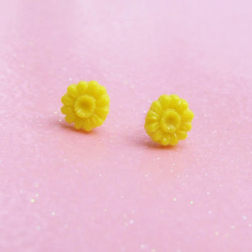 Round Yellow Petals - Flower Stud Earrings - Tiny Blossom Post Earrings - Delicate Spring Flowers - Hypoallergenic Nickle Free