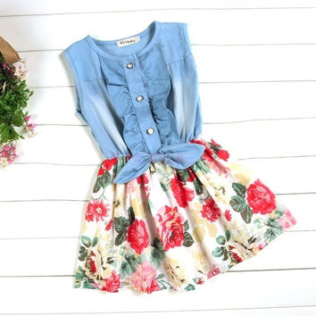 Children's Baby Girls Denim Splicing Floral Dress Sleeveless Cotton Dresses SV006644|26601 Children's Clothing = 1745308804