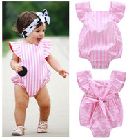 Pink Striped Baby Bodysuits Cotton Newborn Baby Clothes Baby Girl Summer Clothing Sets 0-18months