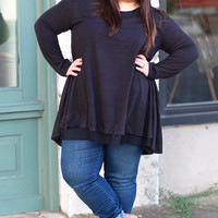 Double Trouble Layered Tunic in Black {Curvy}