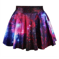 Purple 3D Space Galaxy Print Mini Pleated Skirt