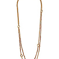 DVF Mixed Woven Chain 2 Row Gold Long Necklace