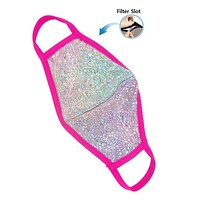 Pink Silver Bling Face Mask with Filter Hole - Covid 19