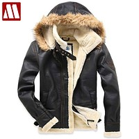 New Men's pilot fur thickening faux lamb flocking air force leather jacket Winter coat