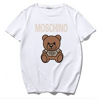 Moschino Summer Fashion New Letter Bear Print Sports Leisure Women Men T-Shirt Top White