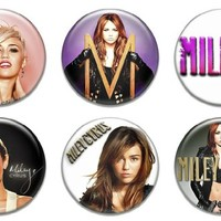 """Set of 6 New Miley Cyrus 1.25"""" Pinback Button Badge Pin"""