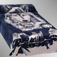 Navy and Black Wolf Pack Mink Style Raschel Blanket Queen or Full Size