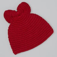 Red Chunky Bow Crocheted Beanie   zulily