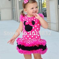 Children Girl Minnie Mouse Dresses Hot Pink White Polka Dot Layered Dress Girl Birthday Party Dresses