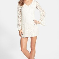 Junior Women's Socialite Lace Shift Tunic Dress,