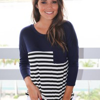 Navy Striped Top with Pocket and 3/4 Sleeves