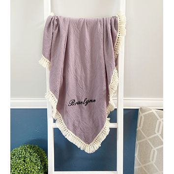 Custom Plum Muslin Blanket with Embroidery