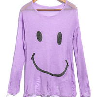 'The Madhulika' Smiley Printed Ripped Hem Sweaters