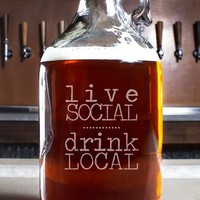 Cathy's Concepts 'Live Social Drink Local' Craft Beer Growler - White