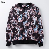 Dior New fashion robot more floral print couple long sleeve top sweater Black