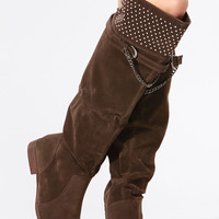 Brown Faux Suede Knee Length Studded Boots