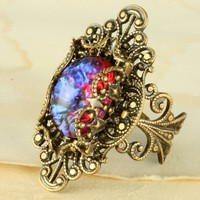 Fire Opal Ring Dragons Breath Ring Mexican Fire Opal Ring Dragons Breath Opal Ring Red Opal Ring Glass Ruby Ring Brass Cocktail Ring