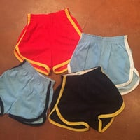 70s High Waisted Athletic Shorts Small XS medium- jogging running 1970s vintage basketball gym shorts red blue striped retro fitted retro