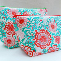 Pink, Red and Sea Green Flower Print Medium Travel Makeup/Cosmetics Bag with Matching Large Toiletries Travel Set with Green & Red Zipper
