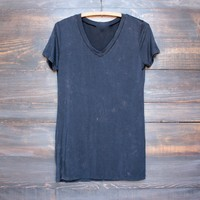 BSIC - womens vintage acid wash v neck tshirt in navy