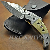 "7.5"" Custom Handmade Hrc Damascus Folding Knife Bone & Mosaic Pin DI3"