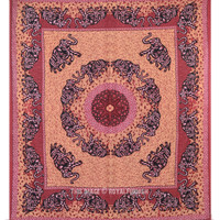 Queen Indian Elephant Mandala Hippie Tapestry Wall Hanging on RoyalFurnish.com