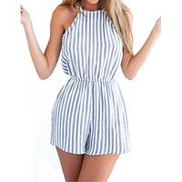 2017 New dress Fashion Women Sexy Playsuits Jumpsuits Short Striped Backless Sleeveless Bodysuits Summer Beach Ladies Rompers