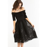 Karis Black Embroidered Off the Shoulder Dress