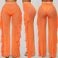Hot sale ruffled sexy mesh see-through trousers