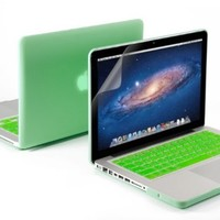 """3 in 1 Aqua Green Matte Rubber Coated See-thru Hard Case Cover for Aluminum Unibody 13.3"""" Inches Macbook Pro - With Aqua Green Silicon Keyboard Protector - 13 Inches Clear LCD Screen Protector"""