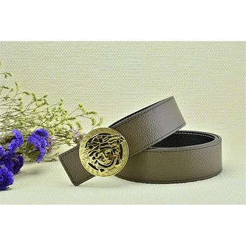 Mens Gold Buckle Free Light Brown Leather Versace Litchi Stria Belt Brand New