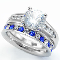 Samira's Stainless Steel Round Cut Ring with Sapphire Eternity Wedding Ring Set