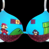 Handpainted Super Mario Bros Bra by SceeneShoes on Etsy