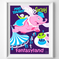 Vintage Disneyland, Print, Dumbo Carousel Poster, Fantasyland, Nursery Wall Art, Vintage Print, Home Decor, Giclee Art, Halloween Decor