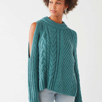 UO Cable Knit Cold-Shoulder Sweater | Urban Outfitters