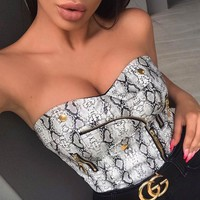 Snake Print PU Leather Zippers Crop Top