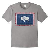 Wyoming State Flag T-Shirt with Super Heavy Grungy Textures