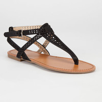 Bamboo Warner Womens Sandals Black  In Sizes