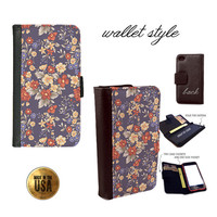 Shabby vintage feel flowers roses blue red yellow navy case for iphone 4 4s 5 5s 5c 6 plus Galaxy S3 S4 S5 (plastic snap on, leather wallet)