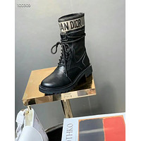 dior womens men black leather side zip lace up ankle boots shoes high boots 1