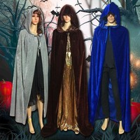 Fashion Cosplay Multi-Color Gothic Wicca Robe Halloween Costume Velvet Hooded Cloaks