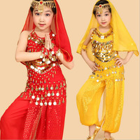 2016 kids belly dance 6 pcs(top+pant+belt+head chain+hand chain+veil) indian clothes rose red yellow girls belly dance costume