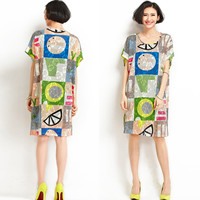 Red and Yellow Geometric and Floral Print Short Sleeve Shirt Dress