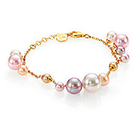 Majorica - 6MM-12MM White, Champagne, Nuage & Rose Round Pearl Charm Bracelet - Saks Fifth Avenue Mobile