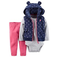 Retail New 2017 hot sale bebes 3pcs clothing set kids Baby boy Girls Clothes sets ,jacket baby romper Pant roupas